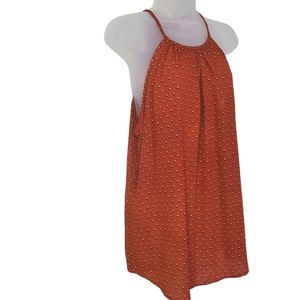 LIBIAN Tank Top Brown Spotted Round Hem Flowy